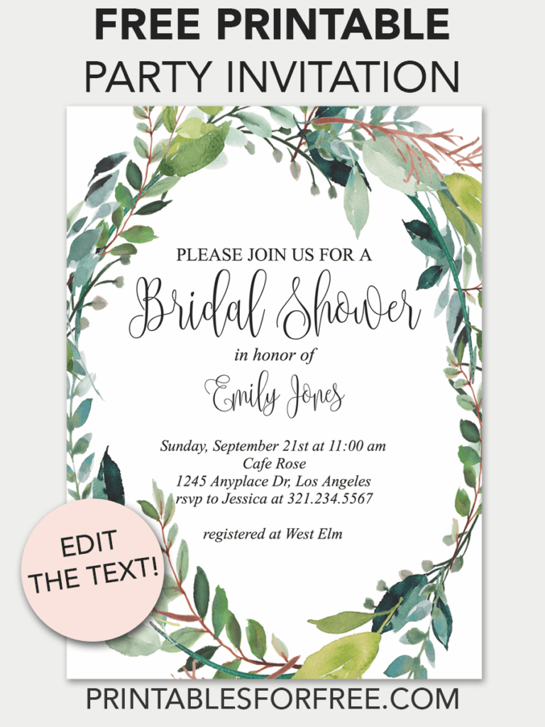 image regarding Free Printable Bridal Shower Invitation Templates identified as Pin upon Invites - Totally free Printable Invitation Templates