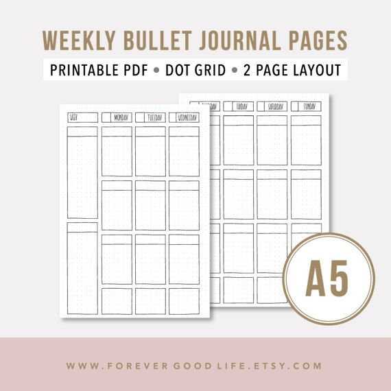 Weekly Agenda 2017 u2022 A5 Printable Planner Insert u2022 Bullet Journal - weekly agenda template