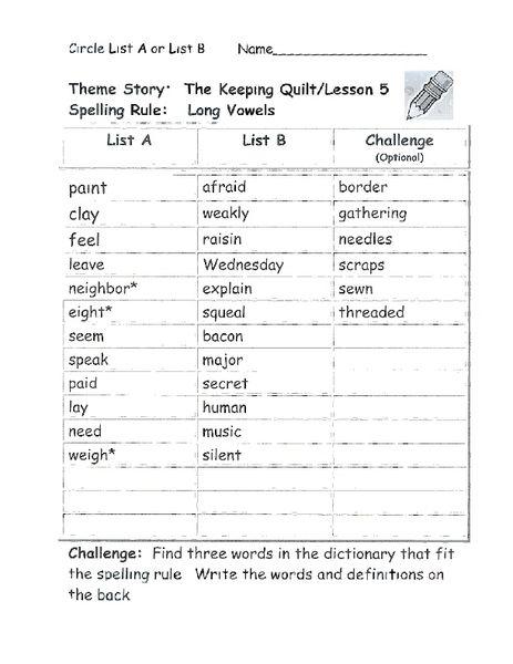 The Keeping Quilt Long Vowel Spelling List Worksheet