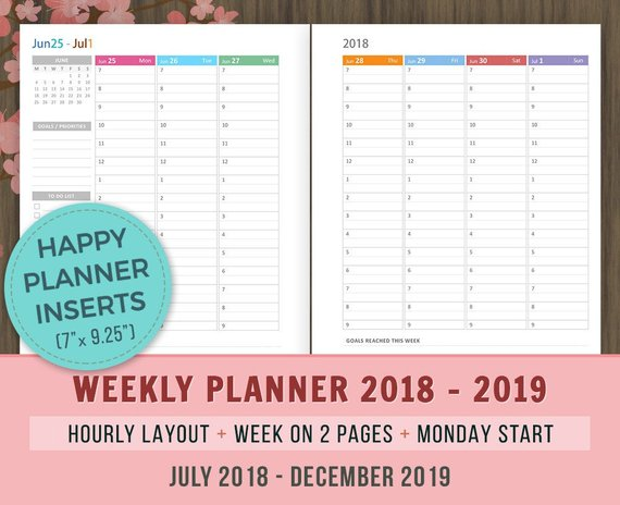 Happy Planner Inserts Weekly Hourly Planner 2019 Inserts Printable