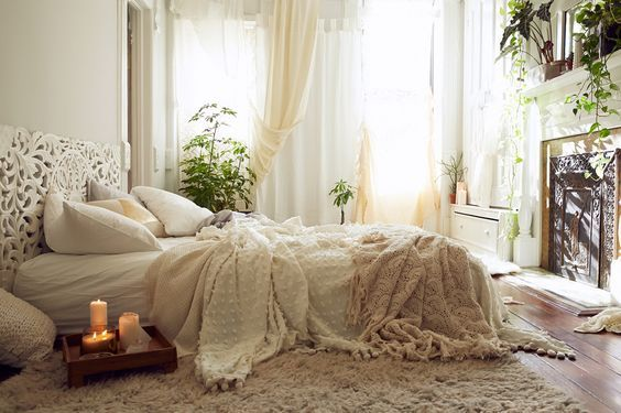 Cozy White Warm Bohemian Bedrooms ..... | Homey | Boho chic bedroom ...