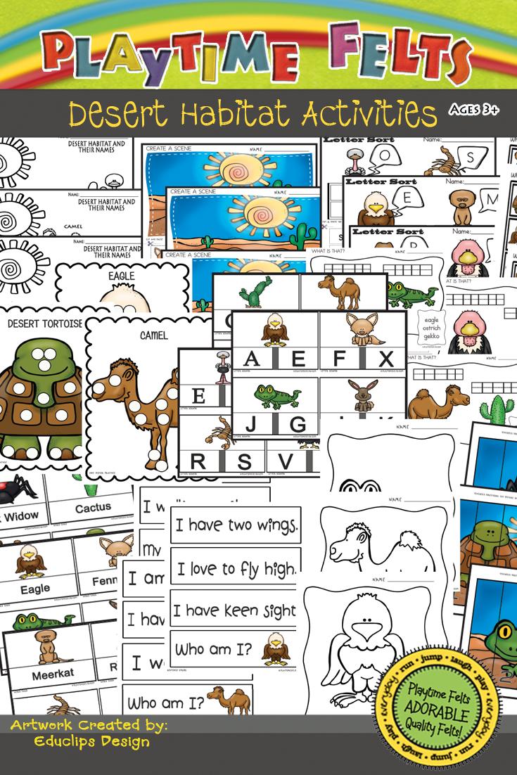 Desert Habitat Activity Worksheets For Preschool By Playtime Felts Habitat Activities Biomes Activities Printable Activities For Kids [ 1102 x 735 Pixel ]