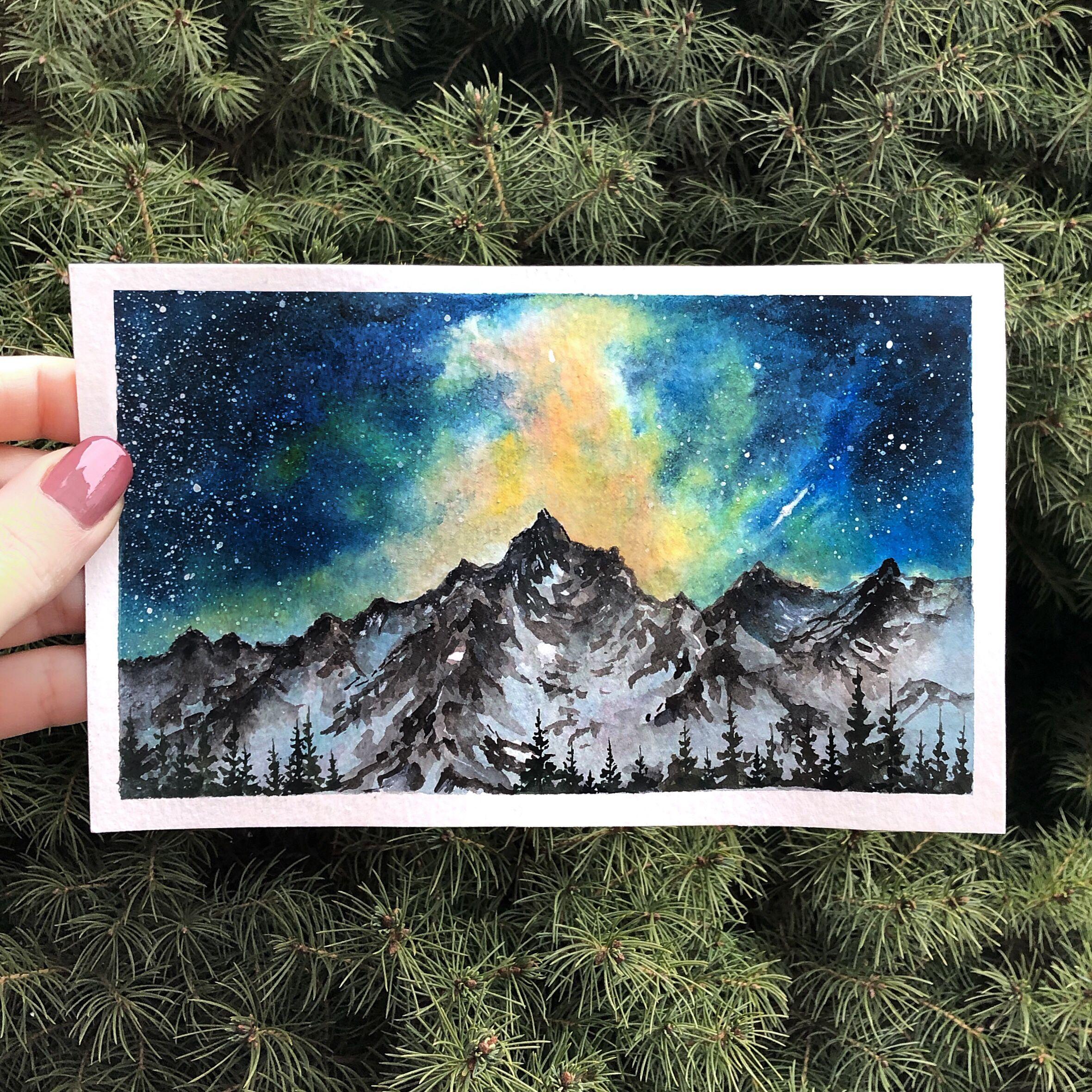 Galaxy Night Mountain Landscape Watercolor Painting Art Artist Artwork Watercolor Watercolour Watercolourarts Cool Drawings Sky Art Watercolor Mountains