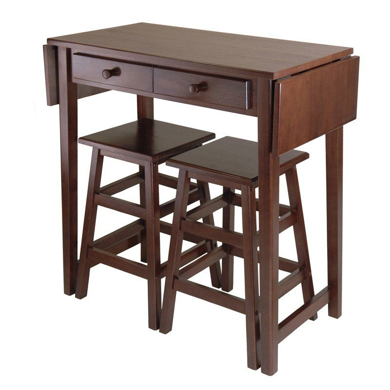Winsome Mercer 3 Piece Double Drop Leaf Small Table Set with Nesting Stools - 40338  sc 1 st  Pinterest & Winsome Mercer 3 Piece Double Drop Leaf Small Table Set with Nesting ...