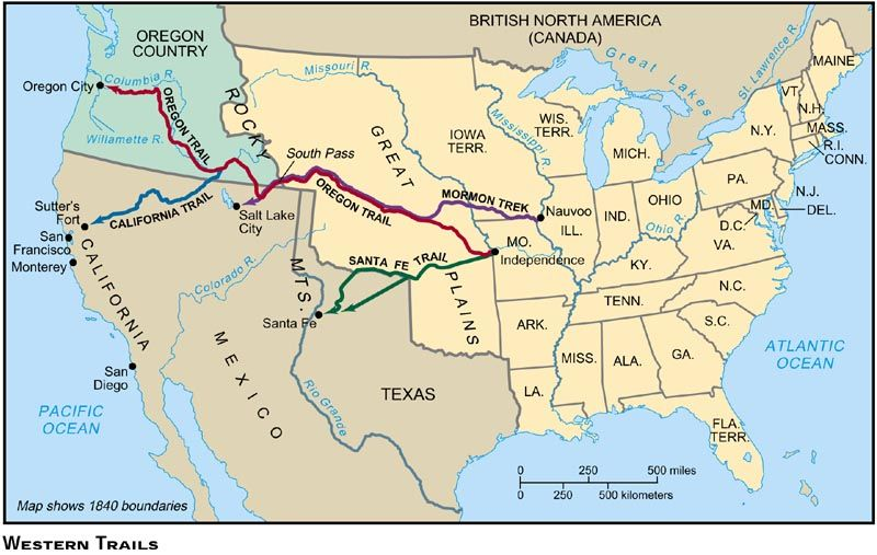 Oregon Trail On Us Map.Western Trails Map 1800s Trails West 1850 Science Social Studies