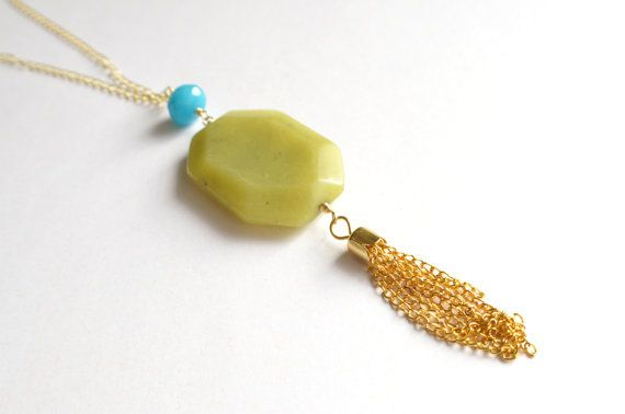 The Maggie 2 Olive Green and Aqua Jade Gold by danaleblancdesigns