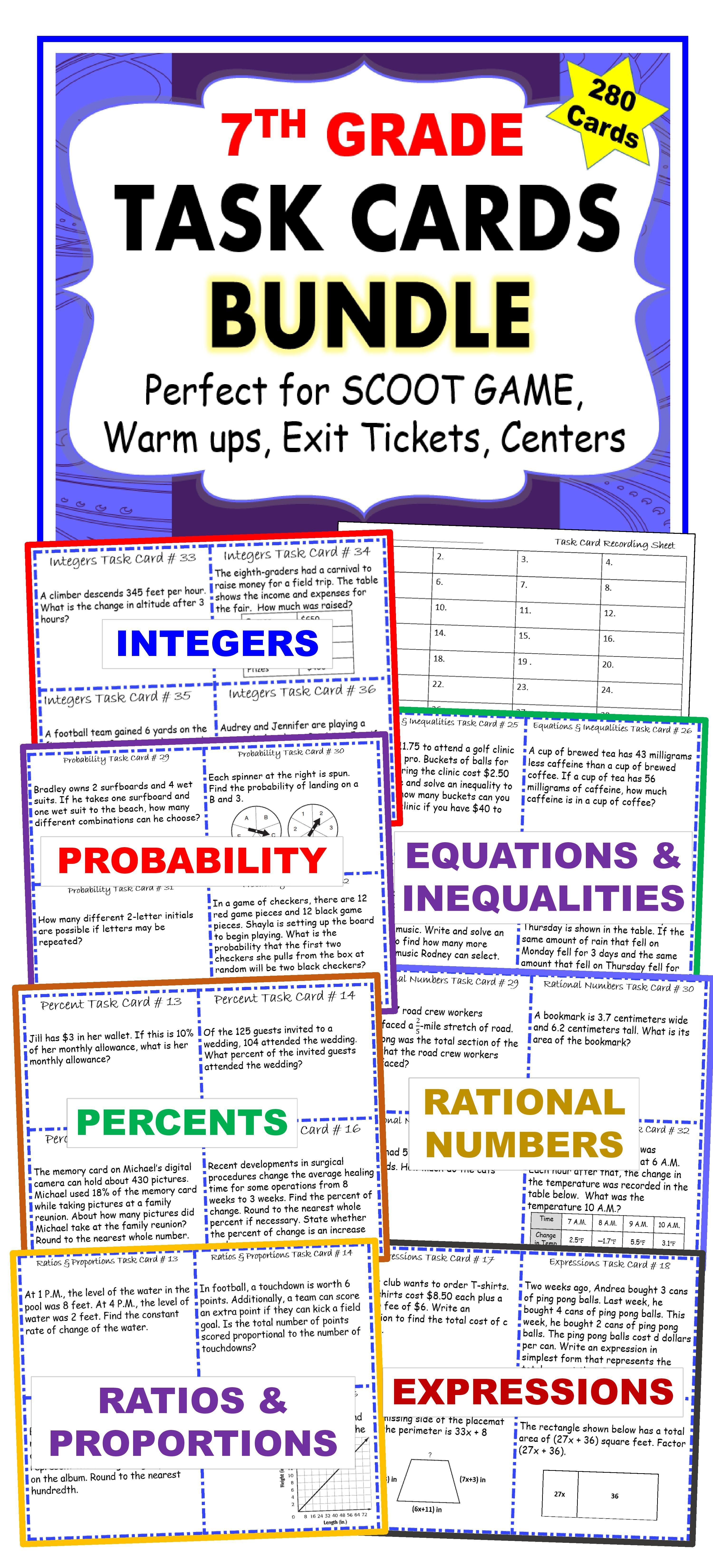 7th Grade Math Common Core Word Problem Task Cards