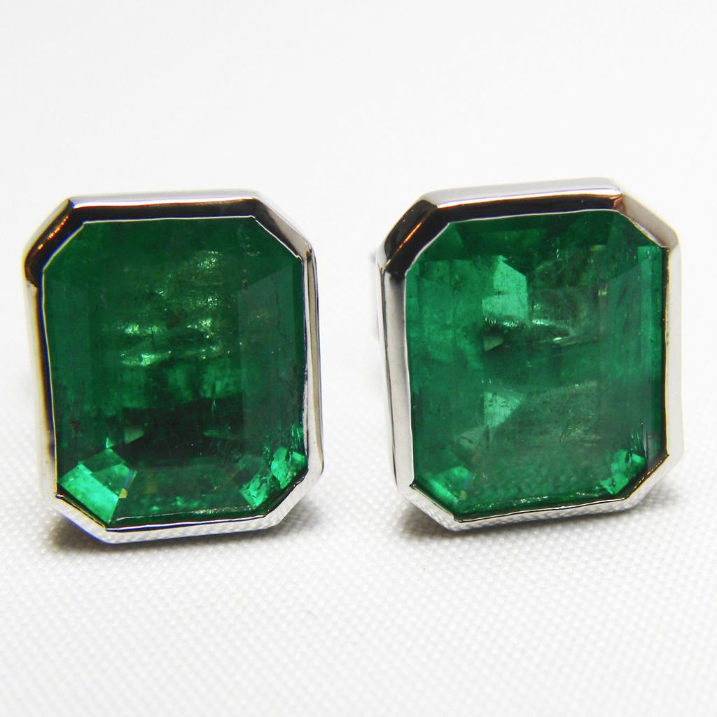 4 60ct Aaa Green Color Natural Emerald Stud Earrings 18k White Gold One Of Akind
