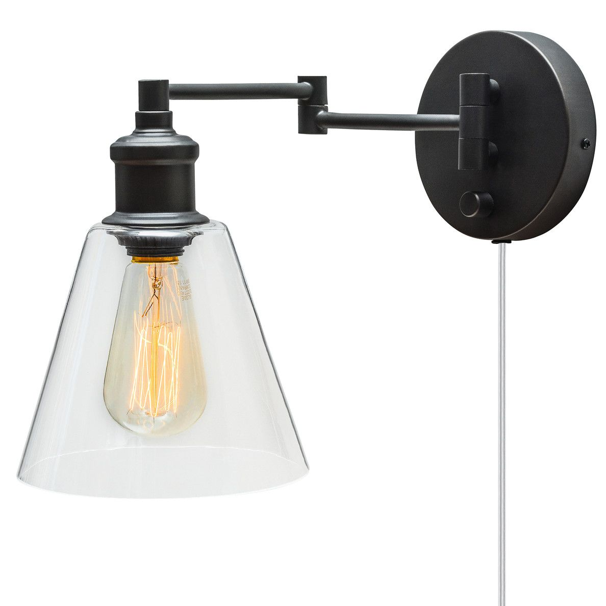 38 Globe Electric Company Adison 1 Light Plug In Industrial Wall Sconce With Hardwire Conver Vintage Wall Sconces Industrial Wall Sconce Swing Arm Wall Sconce