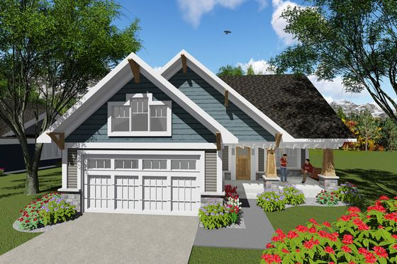Craftsman Style House Plan 2 Beds 1 Baths 1047 Sq Ft Plan 70 1256 Craftsman Style House Plans Craftsman House Vacation House Plans