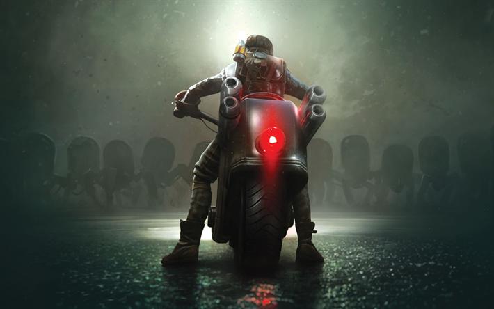 Télécharger fonds d'écran Acier Rats, 4k, affiches, jeux de 2018, le motard action