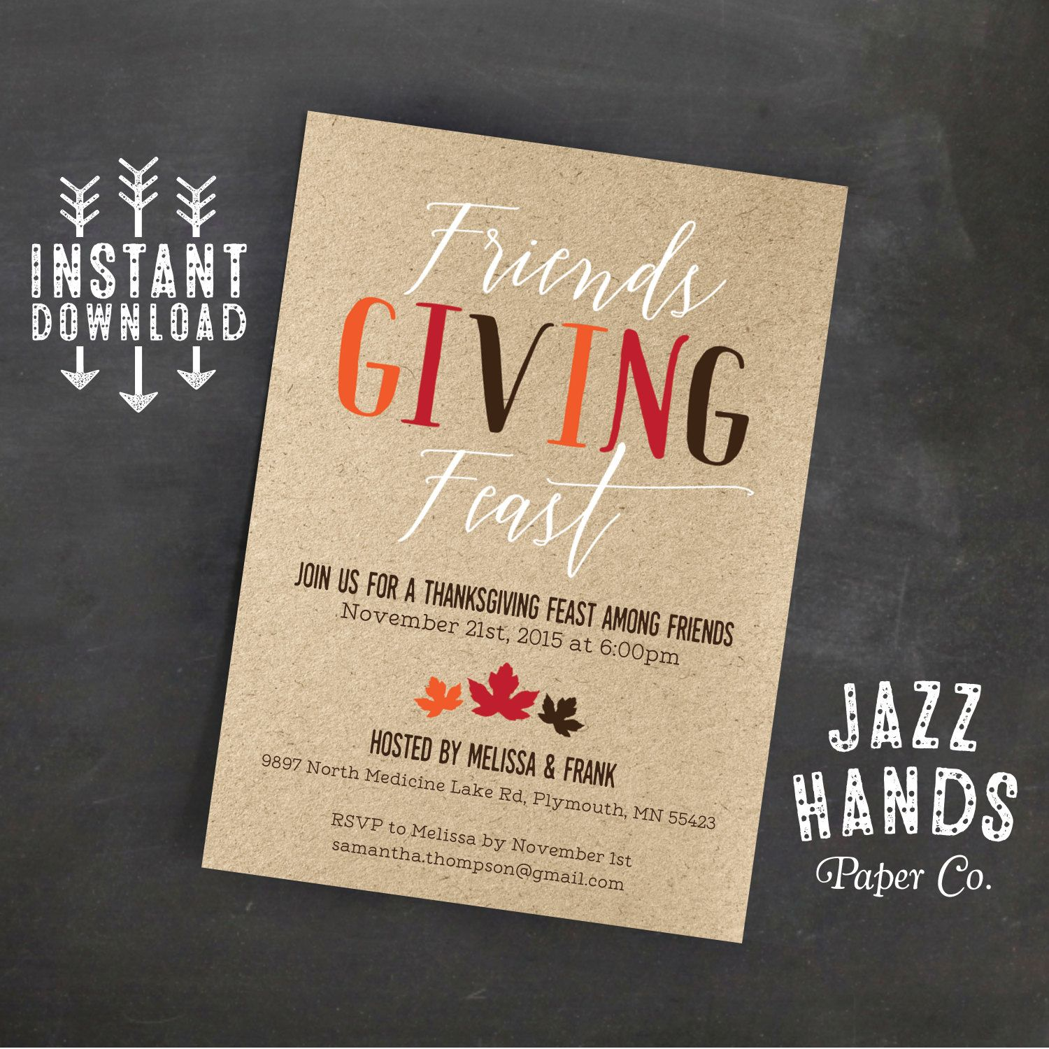 Friendsgiving Invitation Template DIY By JazzHandsPaperCo On Etsy - Party invitation template: thanksgiving party invitation templates