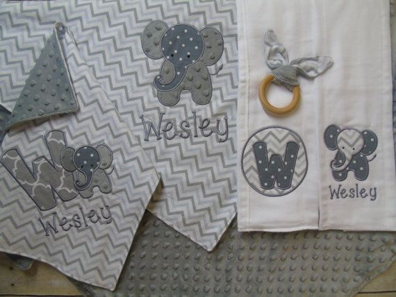 Newborn gift set baby gift set baby blanket set elephant newborn gift set baby gift set baby blanket set elephant nursery baby shower gift elephant blanket lovey blanket burp cloths teether negle Images