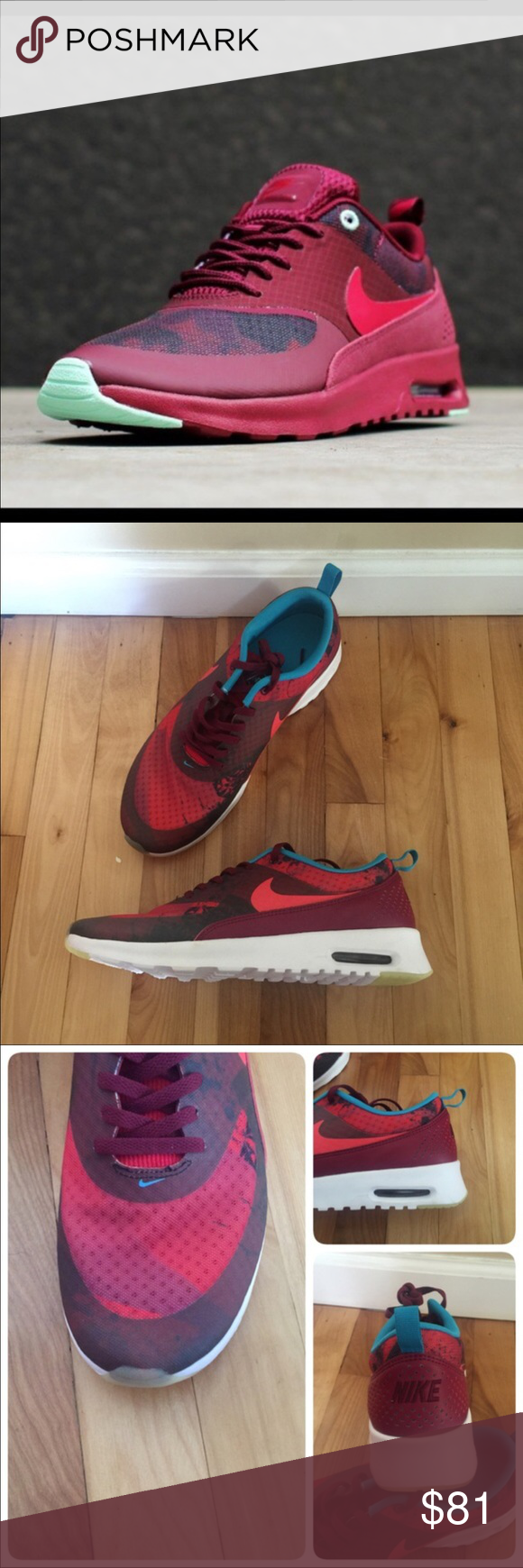 4a963d3aa451 💥New💥 NIKE Air Max Thea Print N7 ~ size 11 brand new no lid size 11 deep  garnet university red black dark turquoise comes from smoke free home 100%  ...