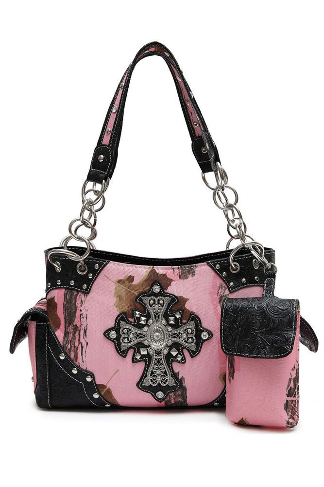 Pink Camouflage With Cross Accented Double Side Pocket Satchel With Phone Holder #GetEverythingElse #Satchel