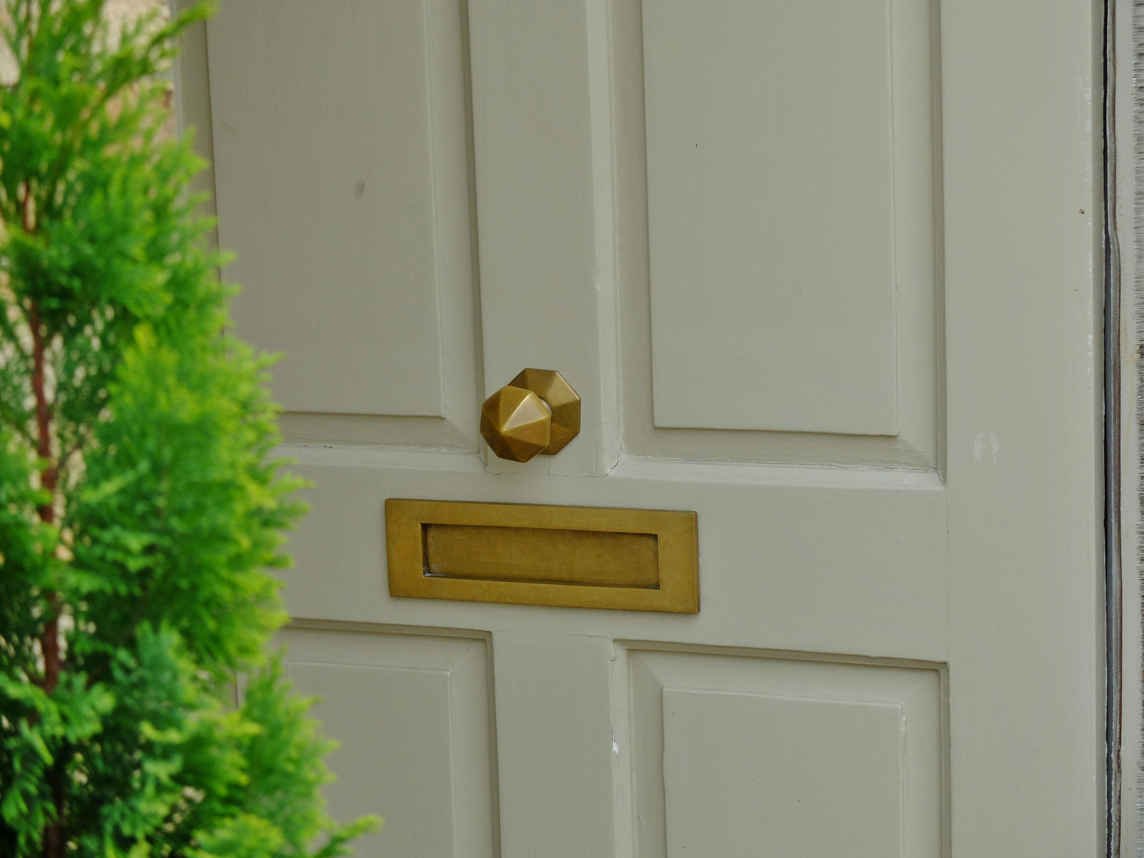 Front door painted in Farrow and Ball Old white. Brass door ...