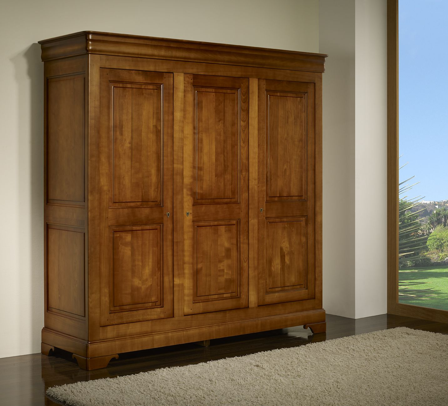 armoire 3 portes anna r alis e en merisier massif de style. Black Bedroom Furniture Sets. Home Design Ideas