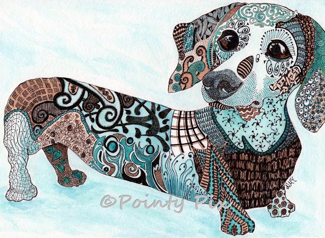 dachshund dog in ink and watercolour doodle dog zentangles
