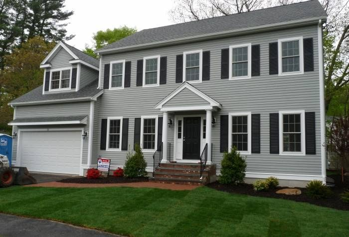 Grey siding black shutters exterior pinterest grey for White house with grey trim