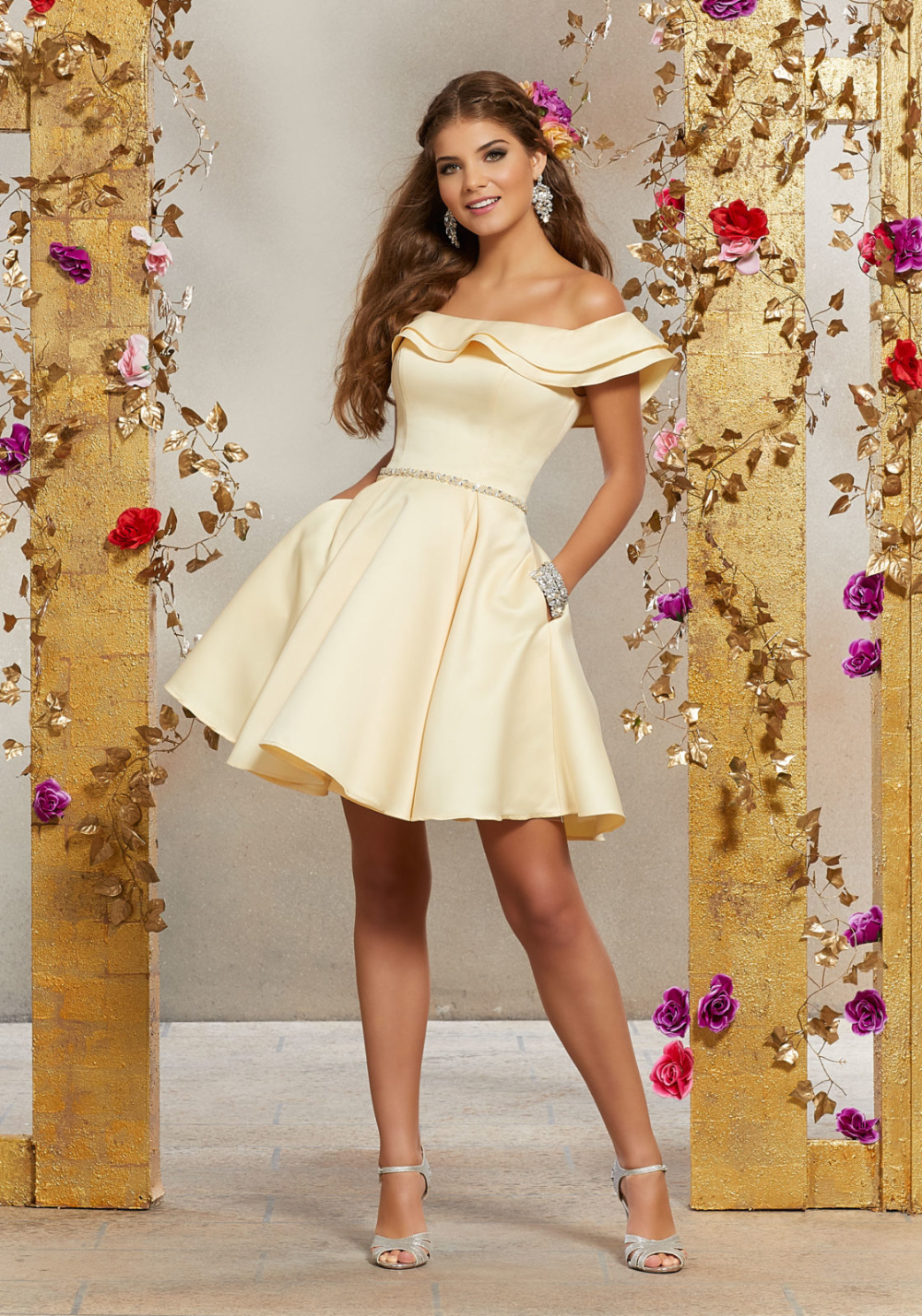 Satin Party Dress with Neckline Flounce and Crysta