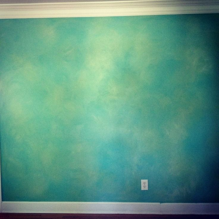 Turquoise green blue and grey faux paintings google Grey sponge painted walls