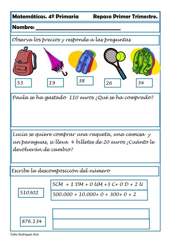 Matemáticas. Fichas para cuarto de primaria | Pinterest | El aula ...