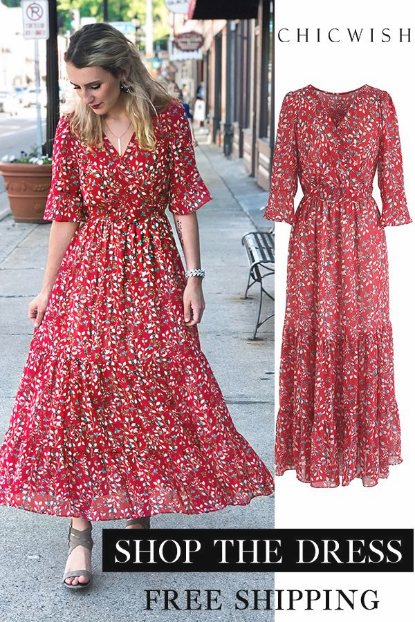 Die Sprießen Welcher Blumen Gehüllt Rüschen-Maxi-Kleid in ...