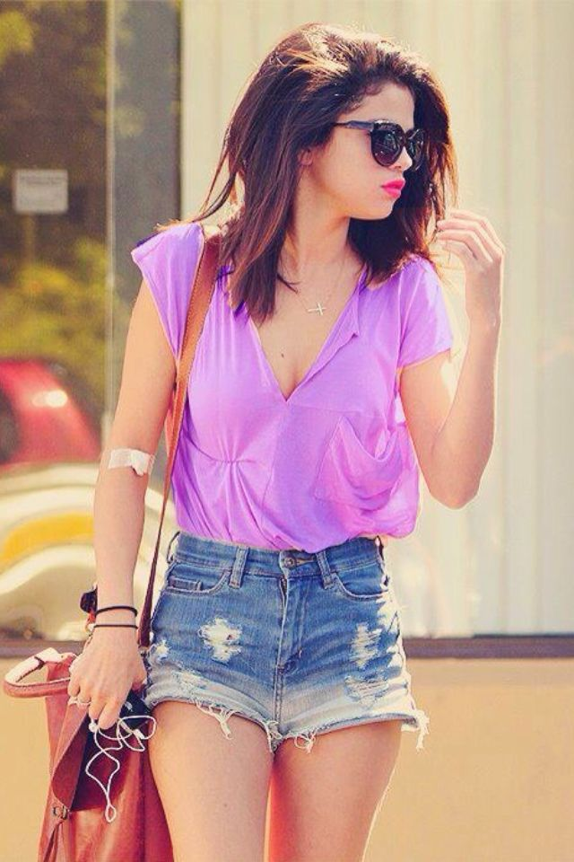 High waisted shorts outfit cute purple shirt | Cute Oufits ...