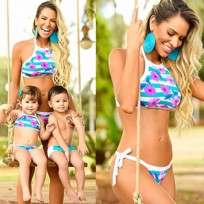 9f05cf55bfe5f 1 Set Swimwear Women Baby Family Look Swimsuit Mommy and Me Mother and  Daughter Clothes Mom and Baby Matching Clothing Outfit