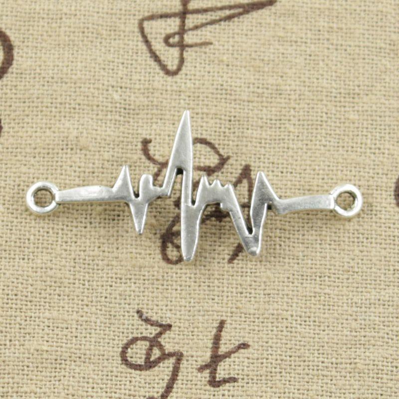 99 Centavos 8 unids Encantos ECG conector de enlace de 40*20mm Antiguo pendiente apta DIY pulsera de Plata Tibetana de La Vendimia collar