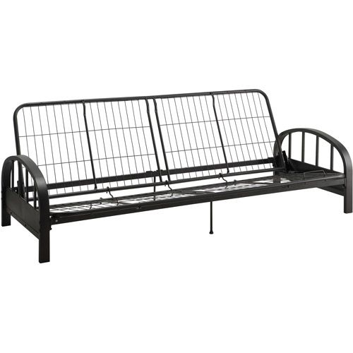 Medium image of dhp aiden futon frame black enhance your living area with the dhp aiden futon frame  its round arms and quality metal mesh frame together provide a