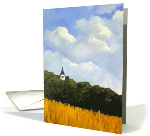 Any Occasion Blank Inside Painting Of Wheat and Trees and Steeple card