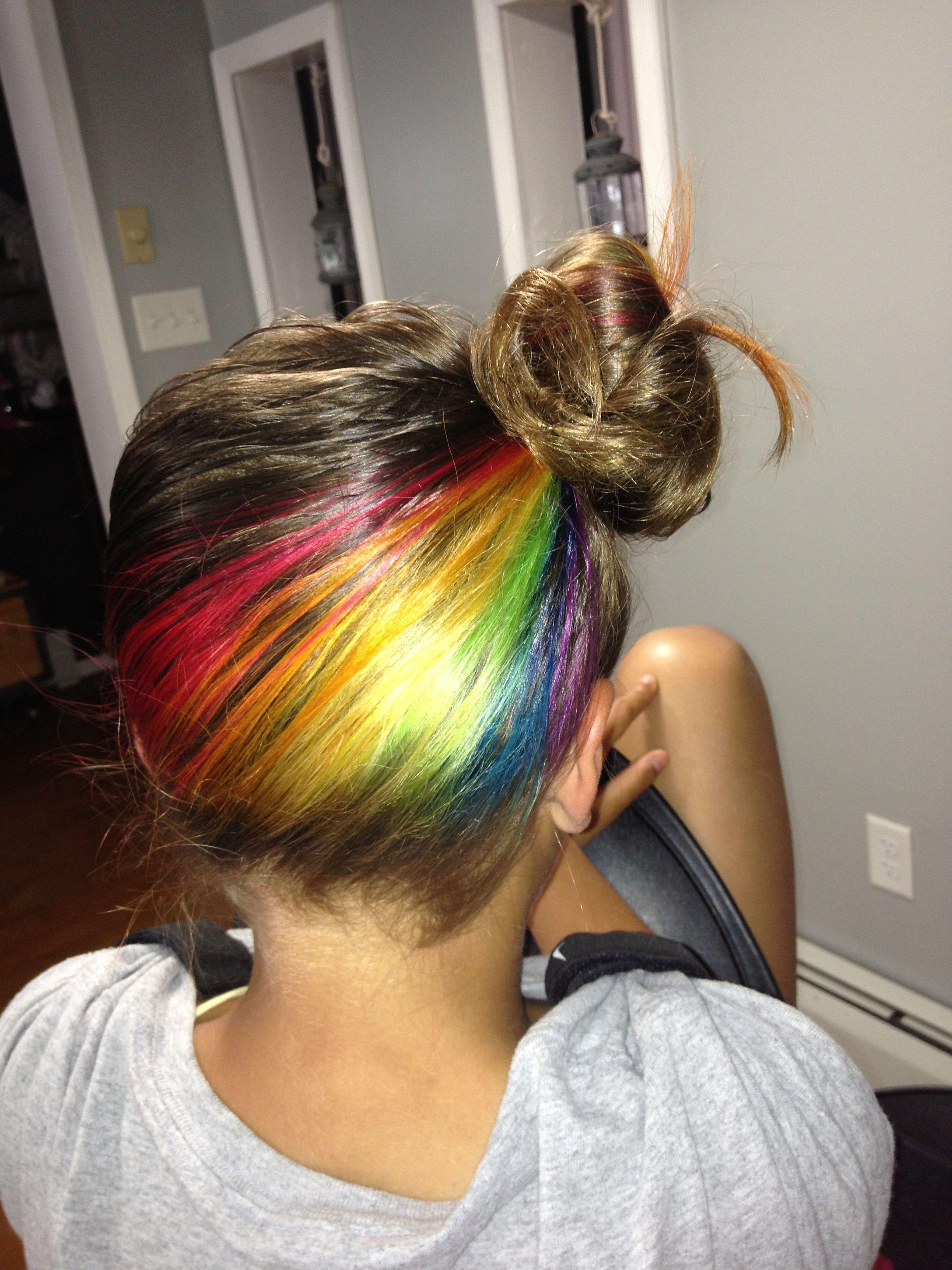 Rainbow hair underneath I love this idea cause I always have my