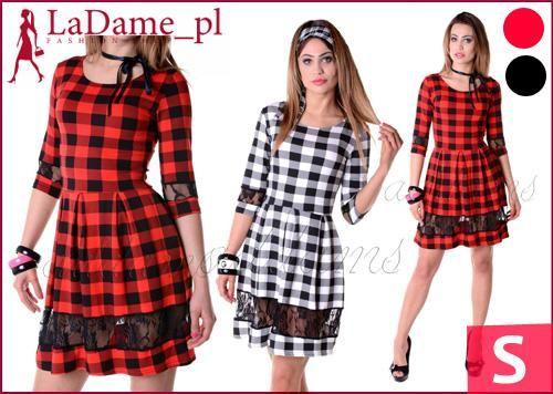 Rozkloszowana Sukienka Z Koronka Kratka P255 S 36 5349316962 Oficjalne Archiwum Allegro Fashion Style Vintage