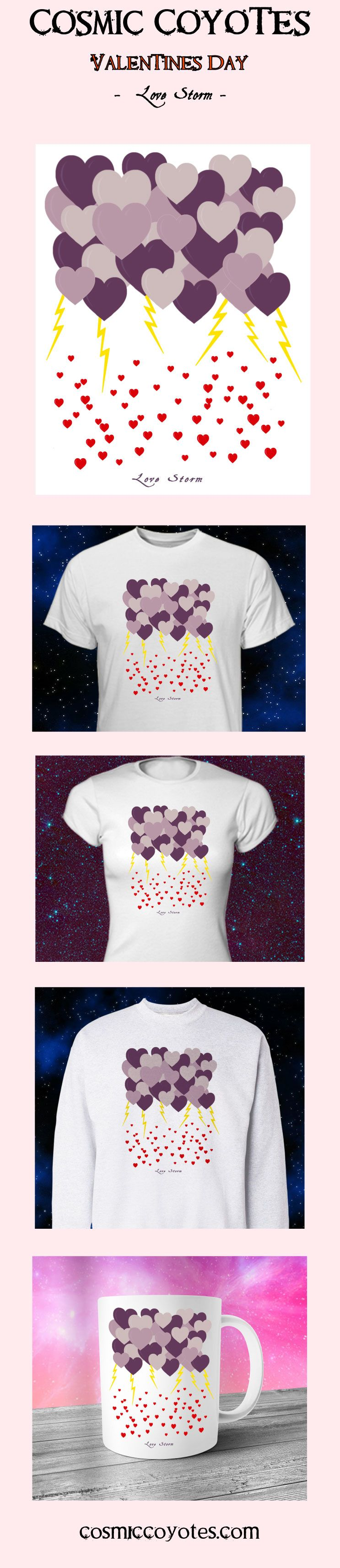 Valentines Day Gift - Love Storm - T-Shirt - Hearts of Love - Love Gift - Love Actually - Gift for Her - Girlfriend Gift - Regalo De Amor  One of our newest unique designs!  Treat yourself or your loved one to this beautiful one-of-a-kind design, composed of deep purple, lavender, and mauve storm heart-clouds, brilliant lightning bolts, and a gentle rain of bright red hearts.  A perfect gift for yourself or someone special!