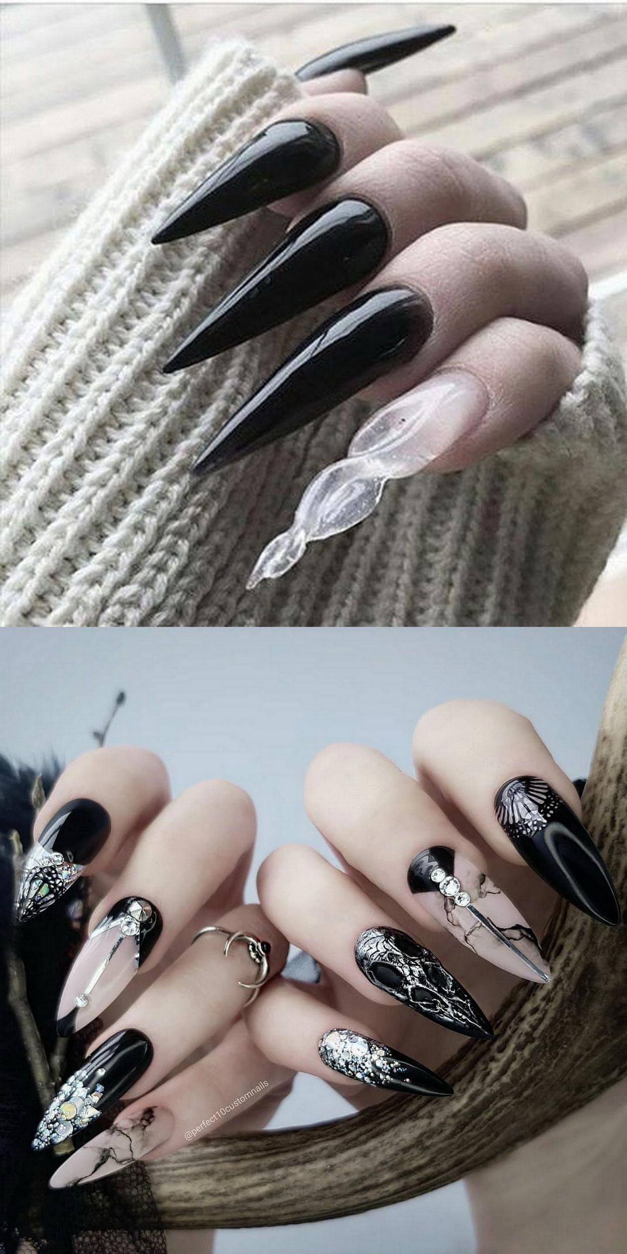 Pin By Daniela Diaz On Nail Inspiration In 2020 Long Black Nails Black Stiletto Nails Goth Nails