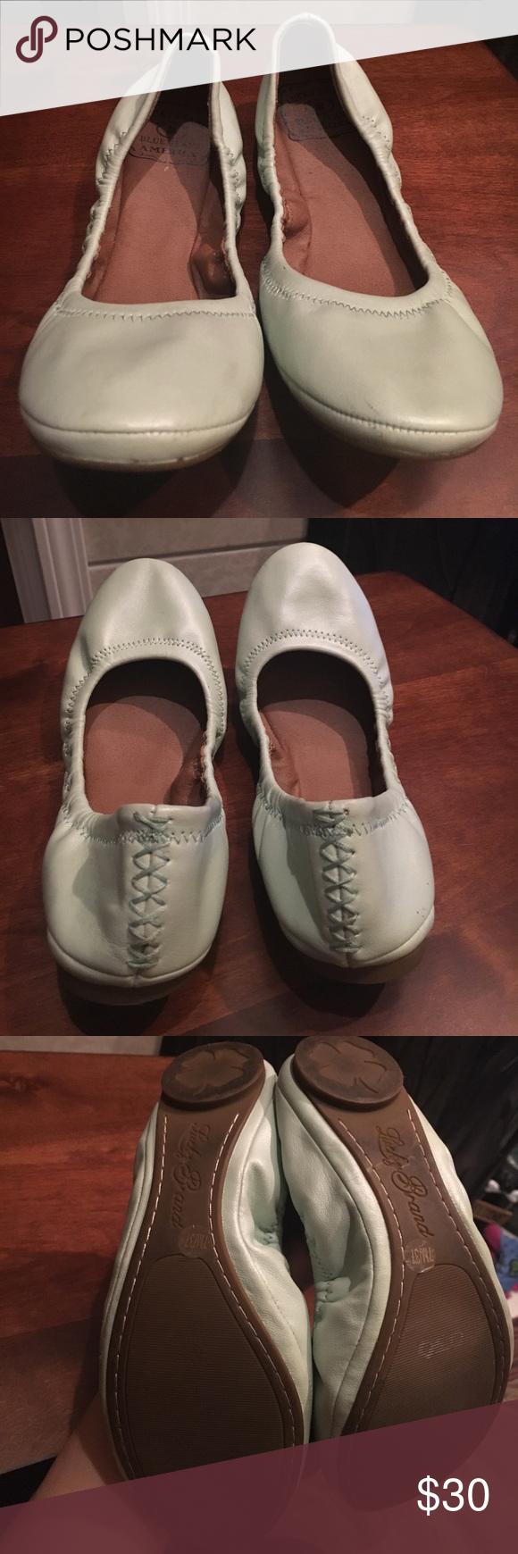 Lucky Brand mint colored flats These Lucky Brand mint colored flats are in great condition. They have been worn two times. There are mild signs of wear and tear. These are great for any occasion during spring or summer! Lucky Brand Shoes Flats & Loafers