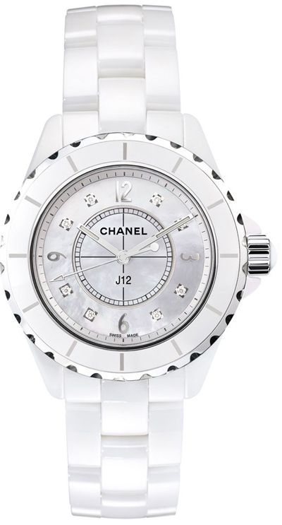 H2422 J12  NEW CHANEL CERAMIC LADIES 33MM WATCH    Usually ships within 8 weeks- FREE Overnight Shipping- NO SALES TAX (Outside California)- WITH MANUFACTURER SERIAL NUMBERS- White Mother of Pearl Diamond Dial  - Date Feature - Battery Operated Quartz Movement- 3 Year Warranty- Guaranteed Authentic- Certificate of Authenticity - Manufacturer Box