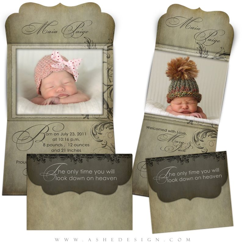 Birth Announcement Template Folded Luxe Maia Paige – High End Birth Announcements