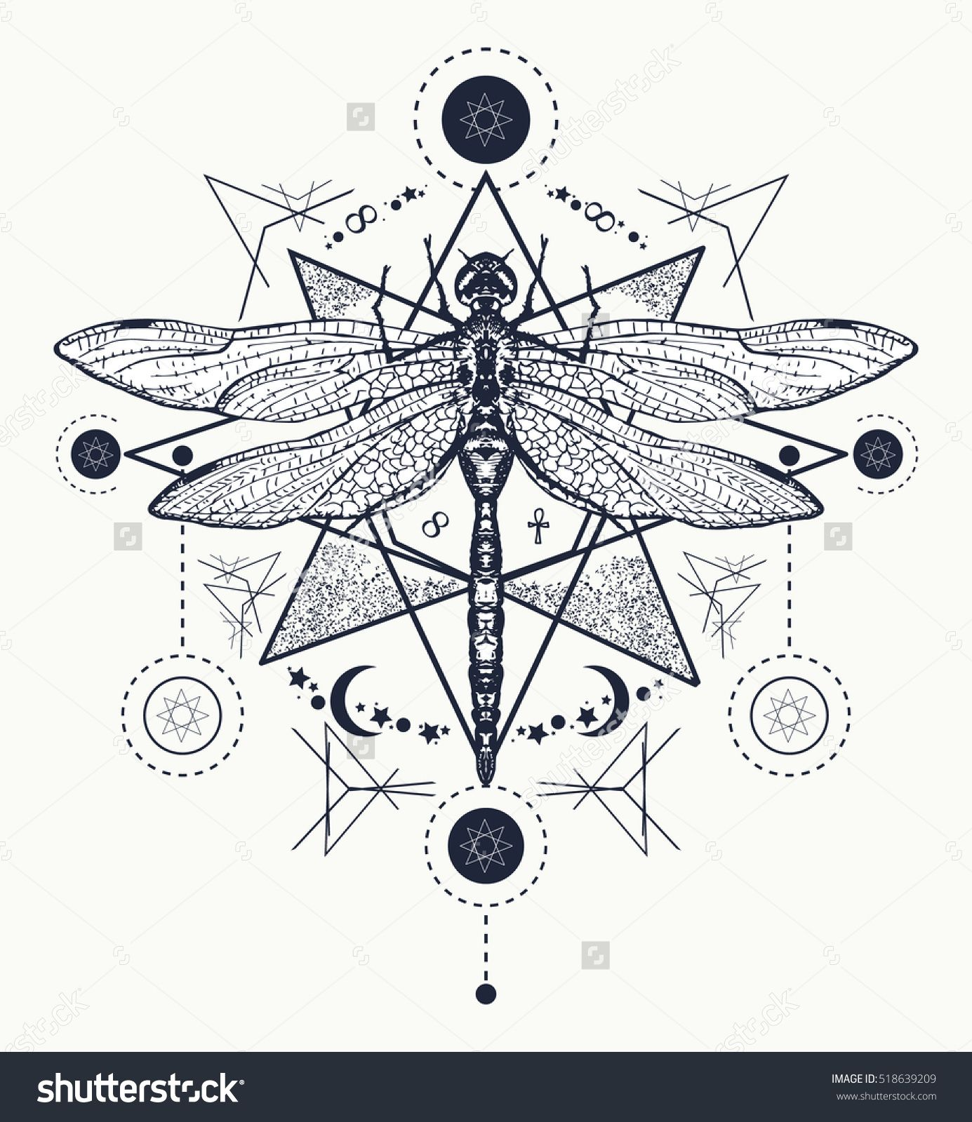 Stock vector dragonfly tattoo hand drawn mystical symbols and hand drawn mystical symbols and insects alchemy religion occultism spirituality coloring books buy this stock vector on shutterstock find other buycottarizona