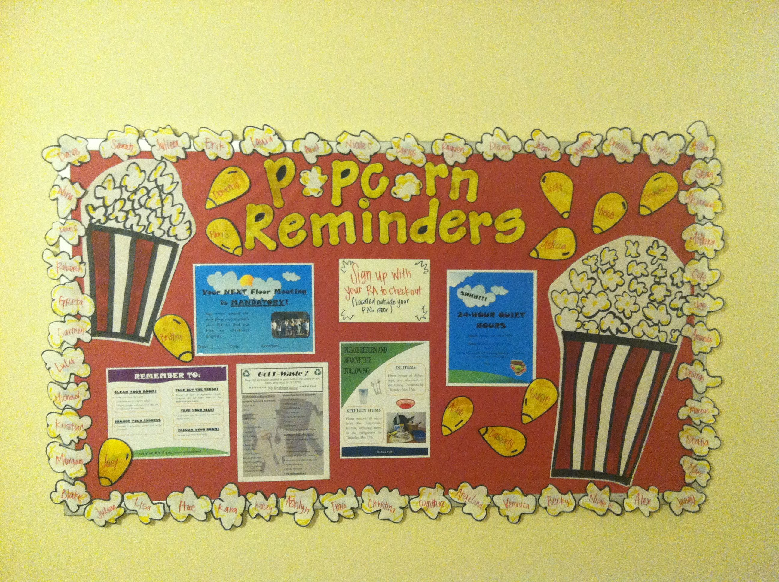 Popcorn Reminders, End Of The Year Bulletin Board