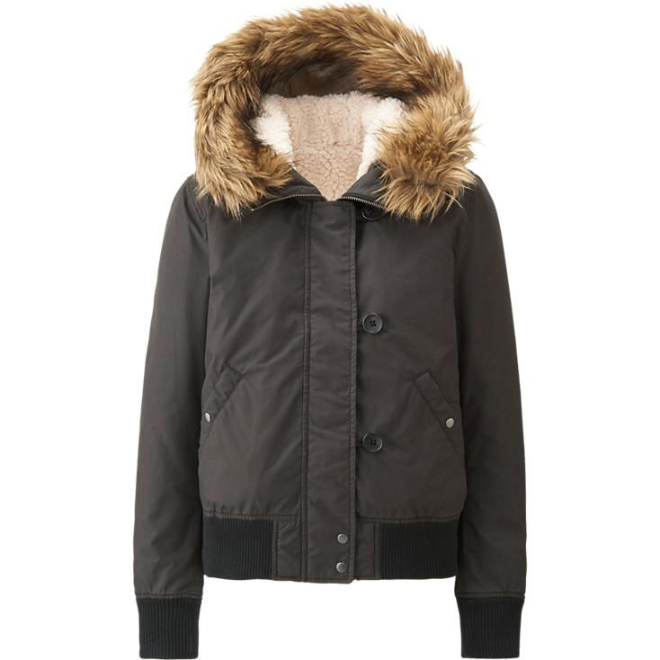 winter is coming women military hooded jacket uniqlo. Black Bedroom Furniture Sets. Home Design Ideas
