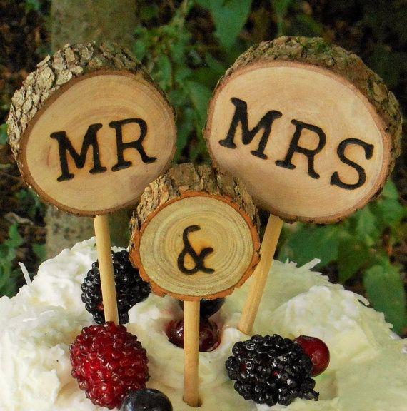 Holz Rustikal Hochzeitstorte Topper Kuchen Von Rosylilycaketoppers