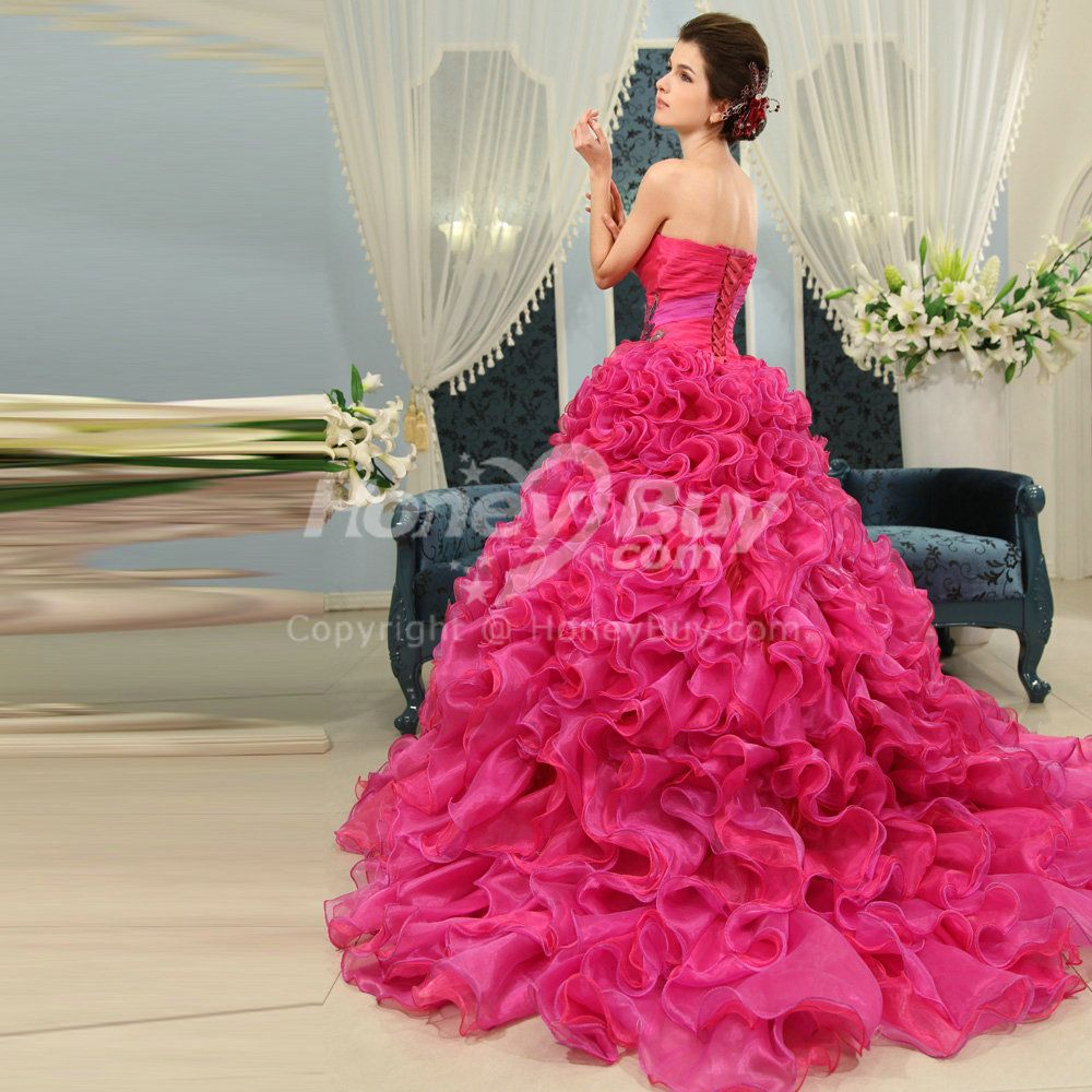 Fuschia Wedding Dresses | Organza Ball Gown Sweetheart Fuschia ...