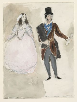 Marc Chagall. A Poet and His Muse. Costume design for Scene IV of the ballet Aleko. (1942)