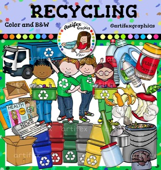 Recycling Clip Art Color And B W 50 Items Clip Art Art Recycling