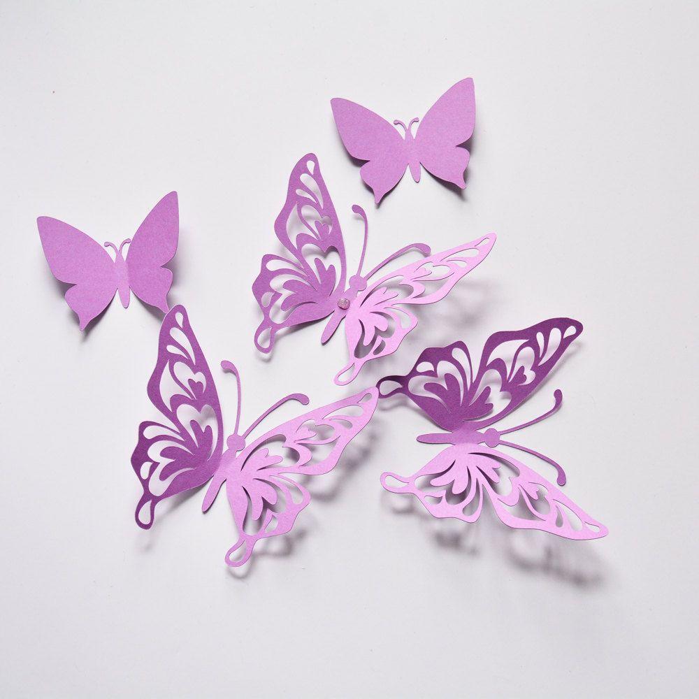 Purple Butterfly Wall Decor Birthday Paper Butterflies 3d