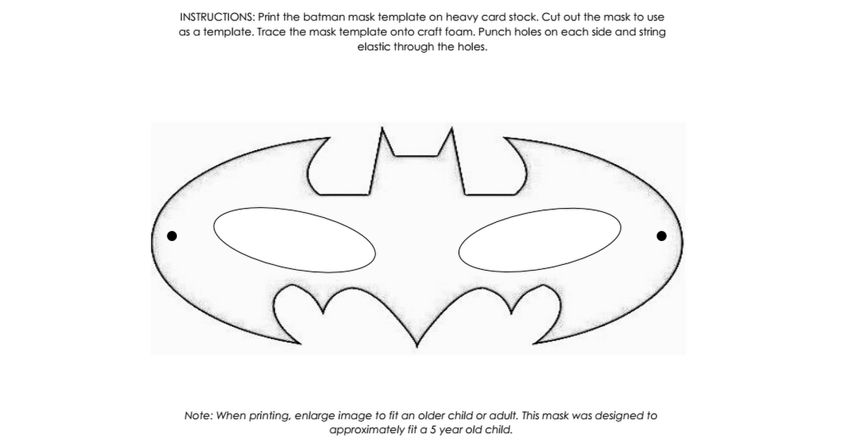 Batman Mask Template.pdf | Craft ideas | Pinterest