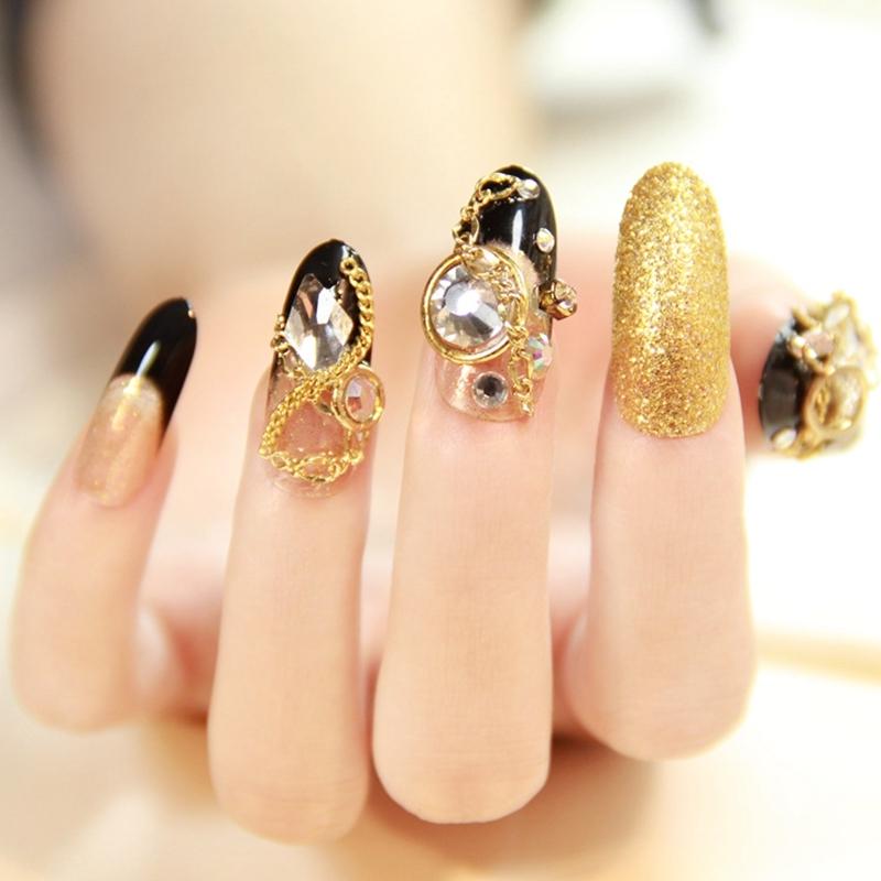 6$ Watch now - 24pcs Fashion Long False Nails Tips Gold Glitter ...