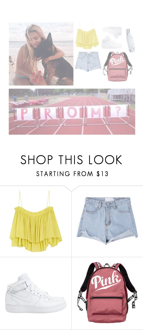 """""""OORN"""" by svnsetdcrlings ❤ liked on Polyvore featuring beauty, Apiece Apart, NIKE, Victoria's Secret and S'well"""